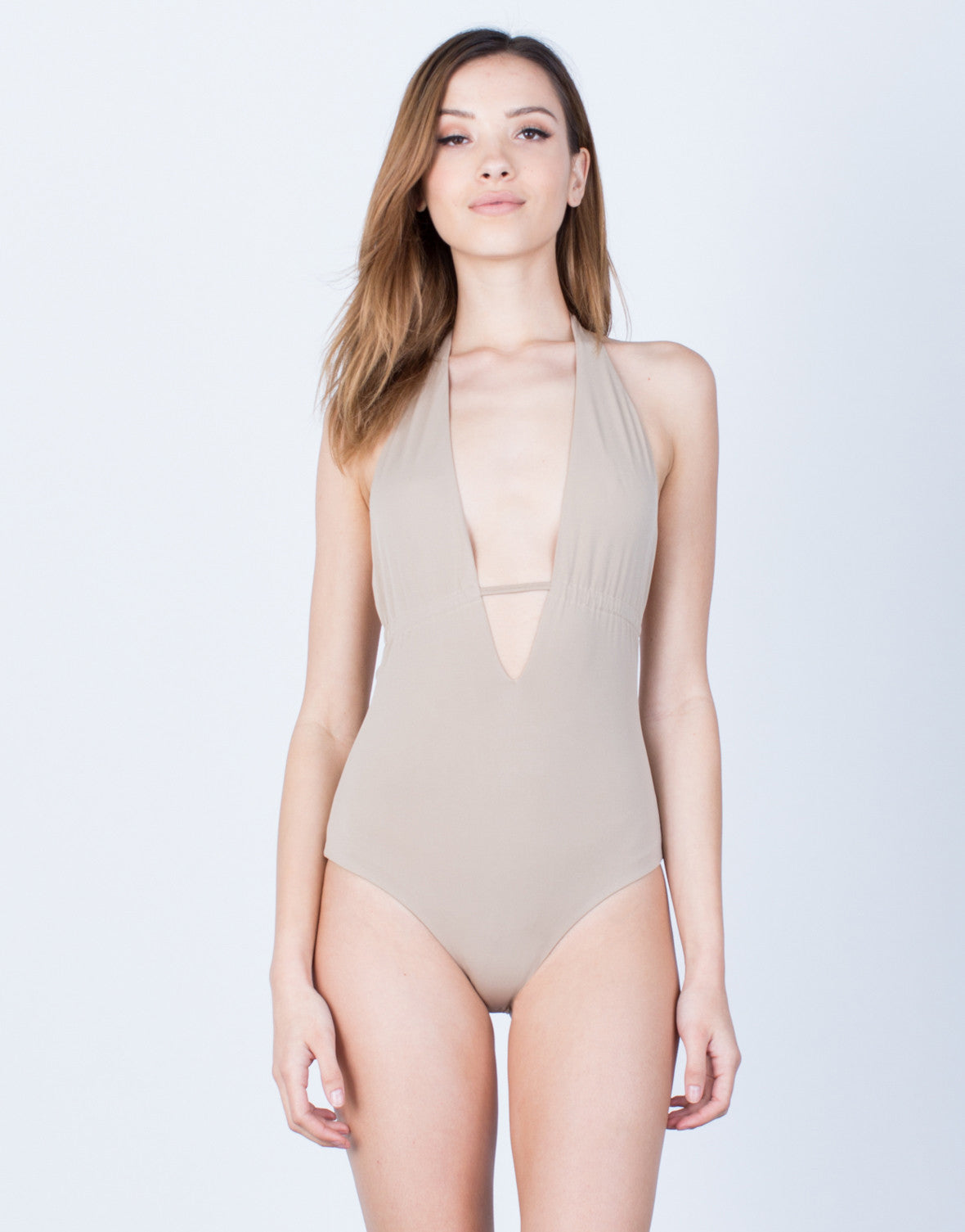 Front View of Plunging Halter Tied Bodysuit