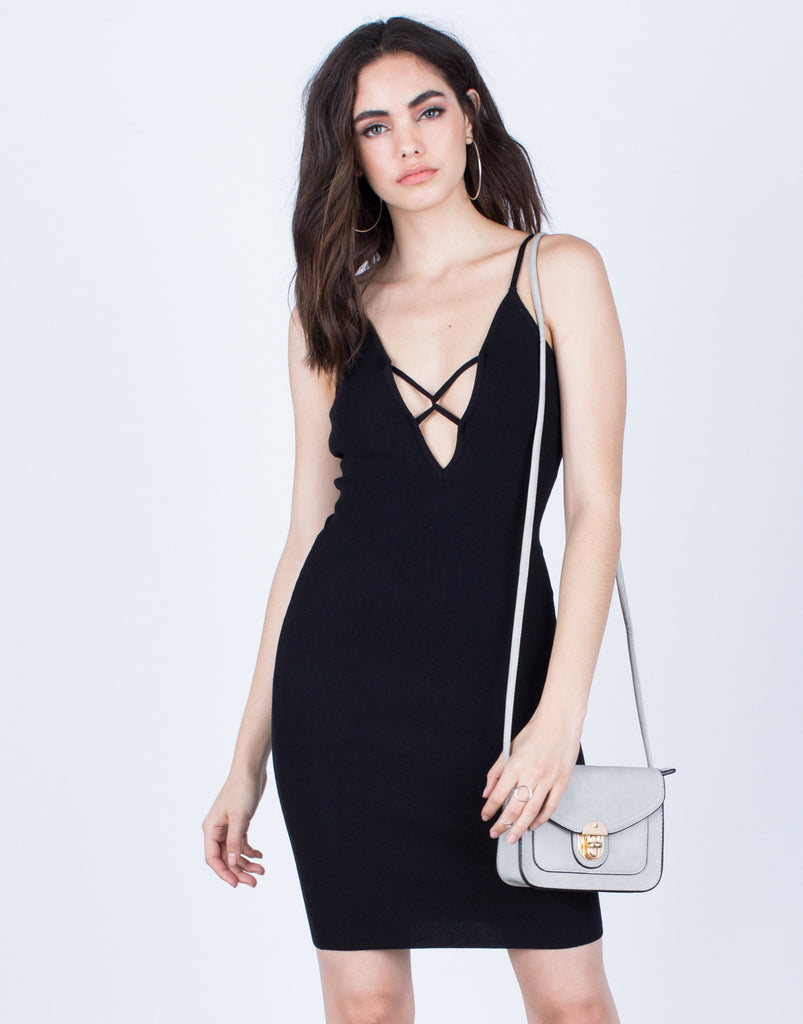 Plunging Lace-Up Dress - 2020AVE