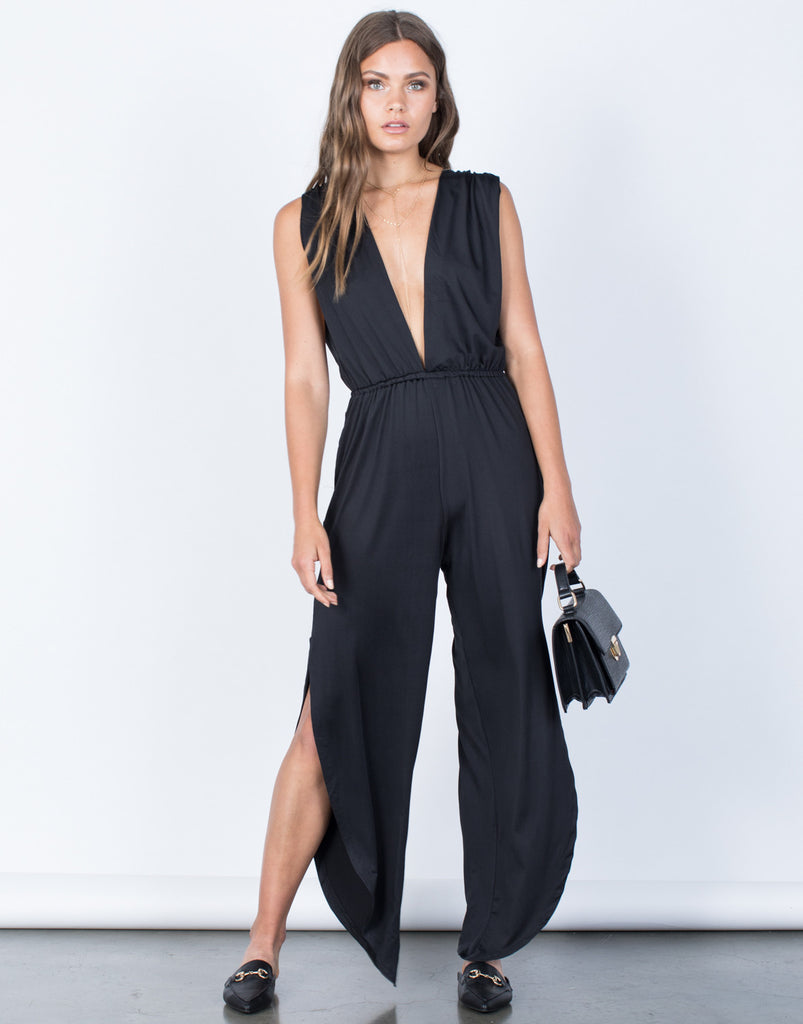 Front View of Plunging Party Time Jumpsuit