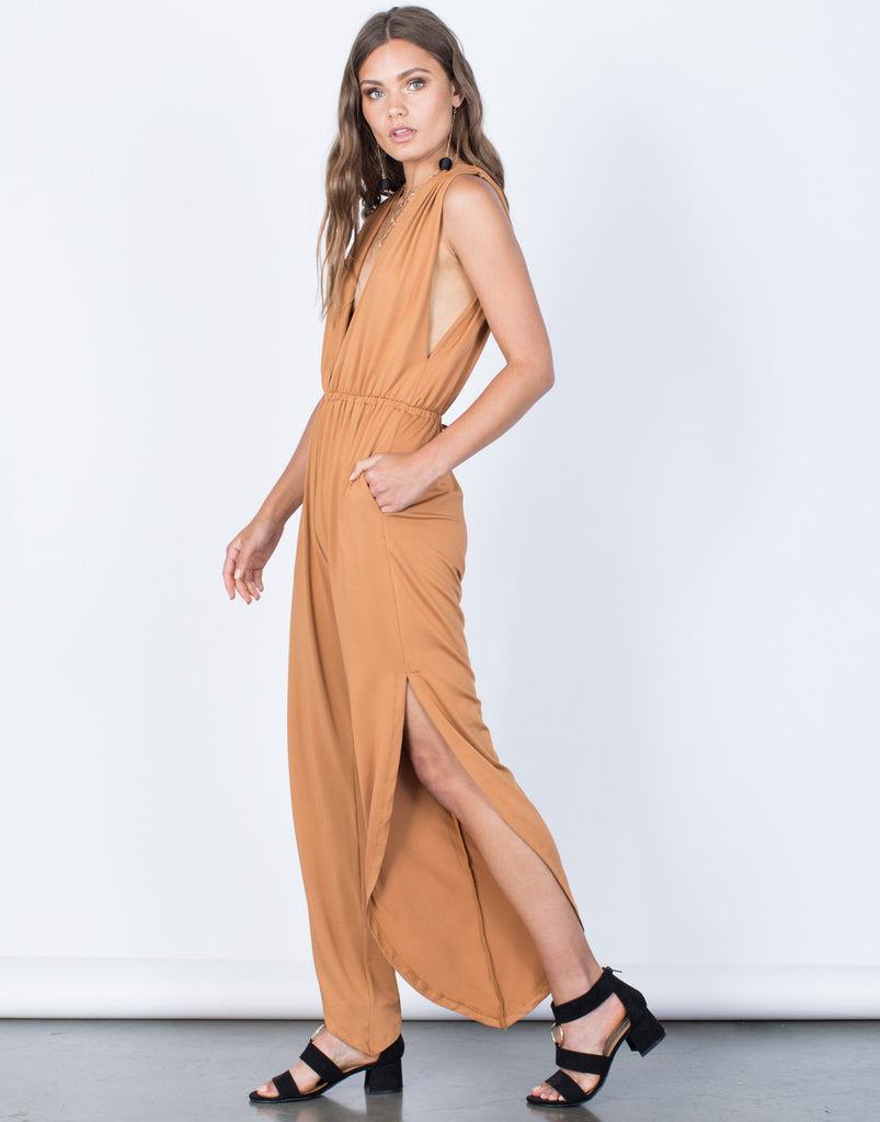 Side View of Plunging Party Time Jumpsuit
