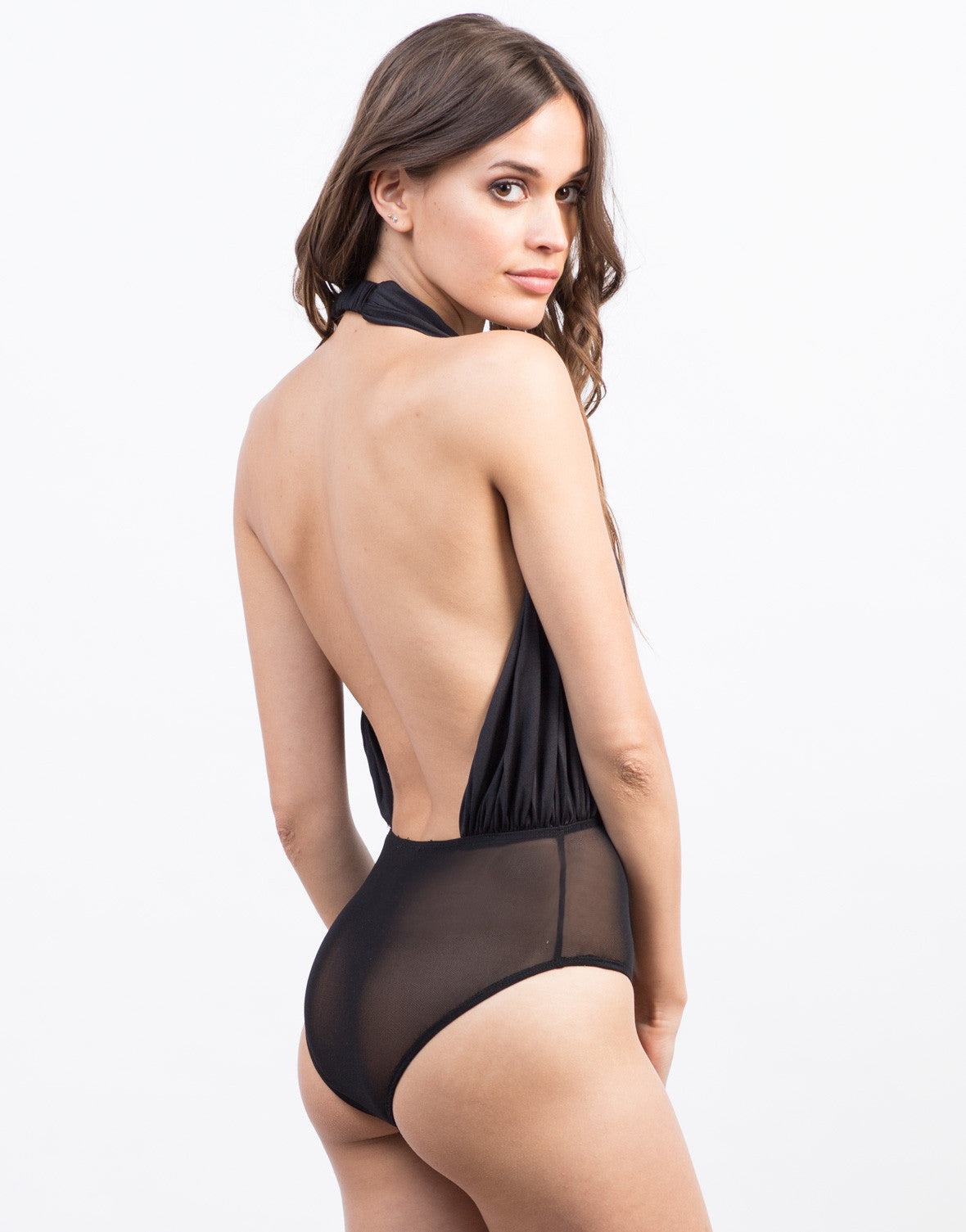 Detail of Plunging Pleated Halter Bodysuit