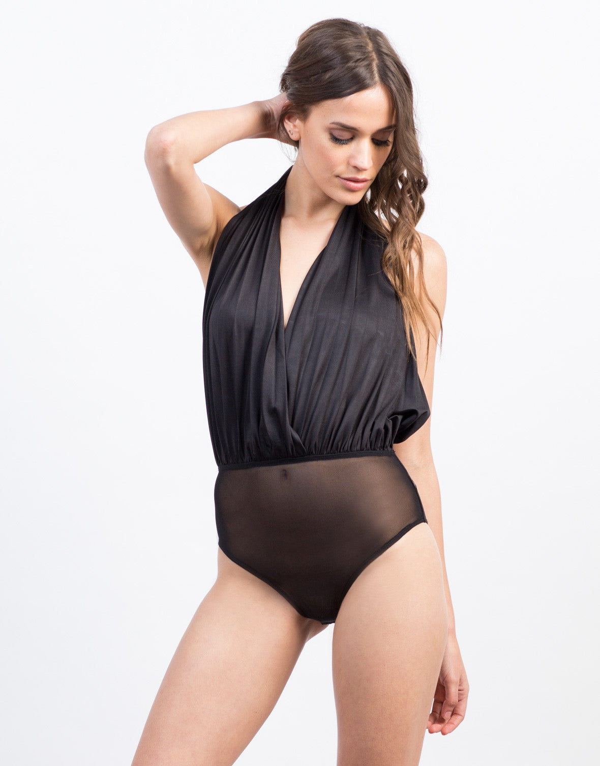Front View of Plunging Pleated Halter Bodysuit