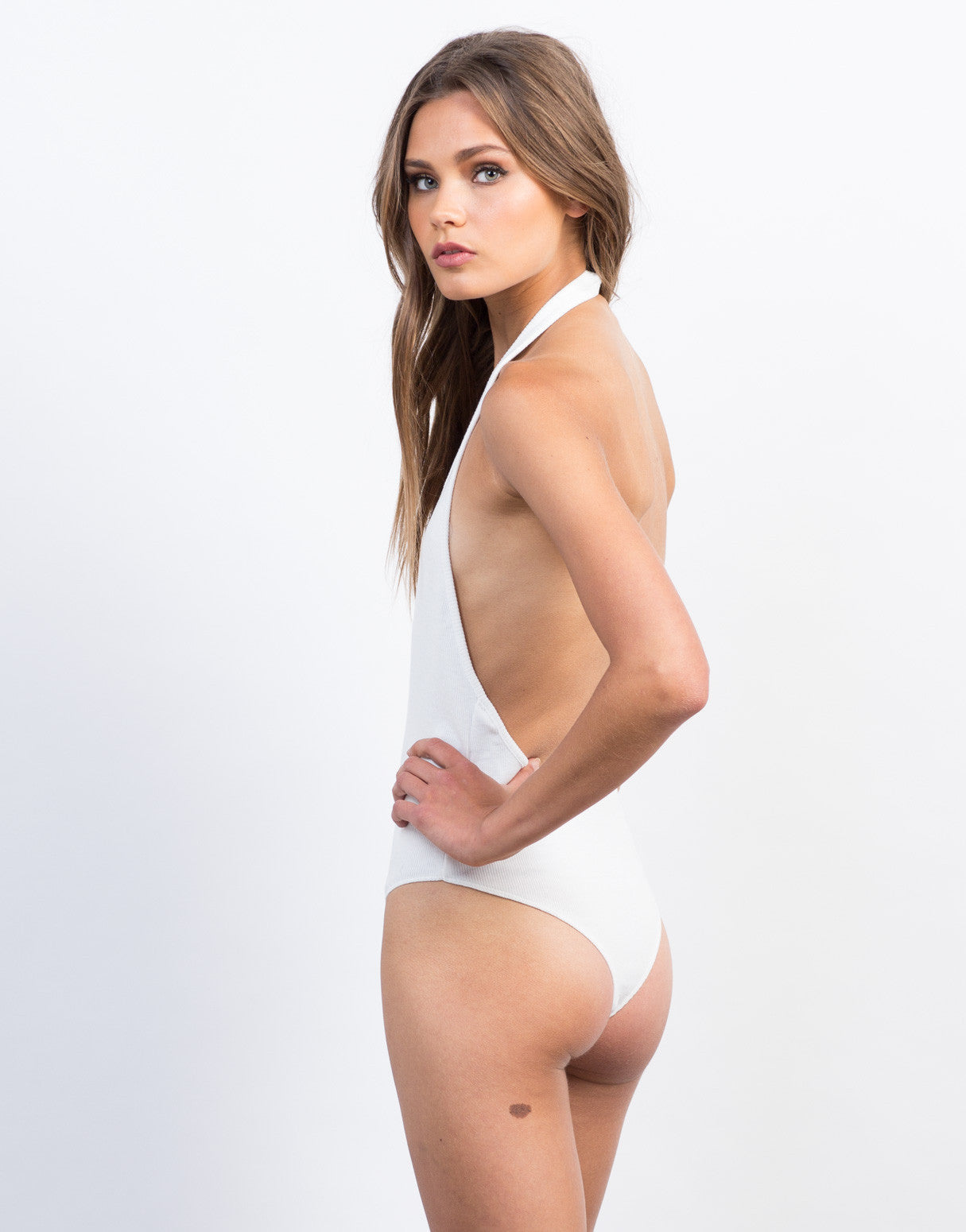 Back View of Plunging Ribbed Halter Bodysuit