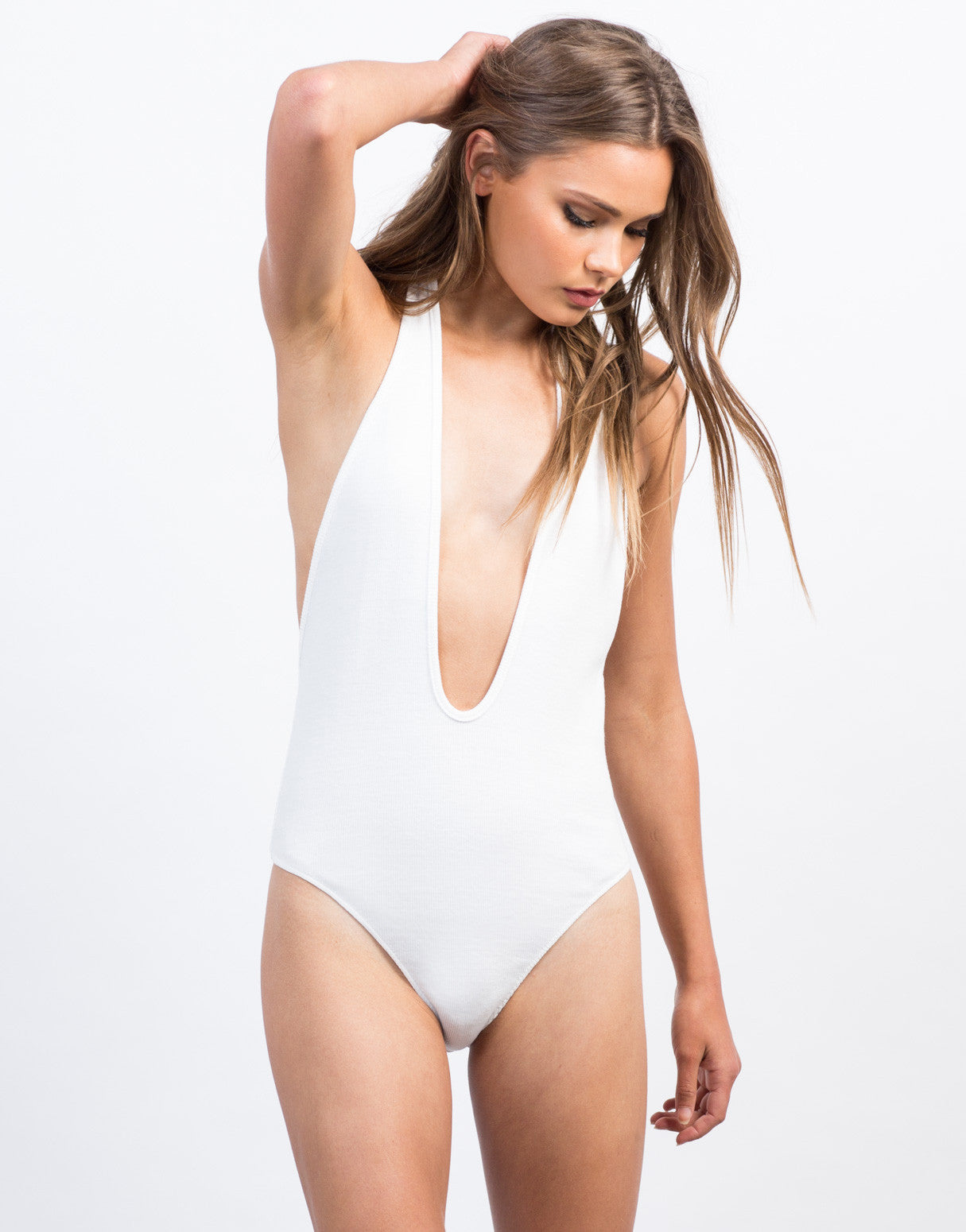Front View of Plunging Ribbed Halter Bodysuit