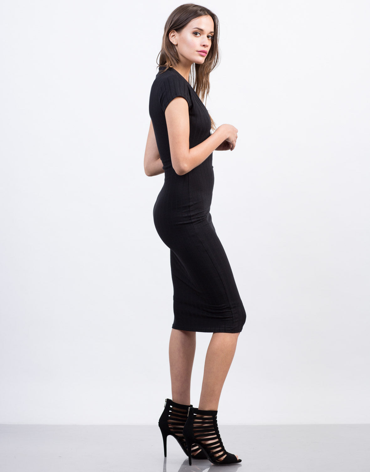 Side View of Plunging Ribbed Midi Dress