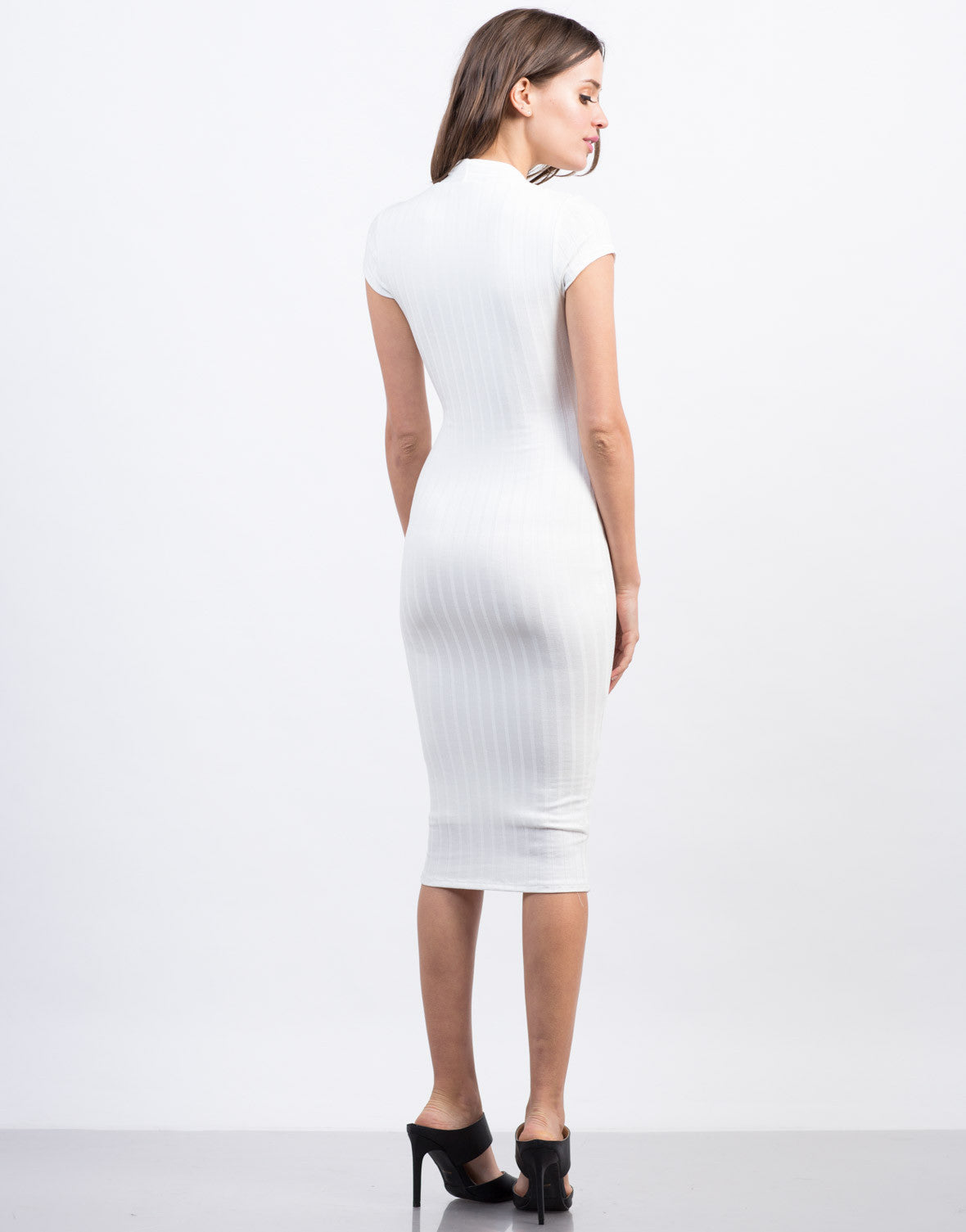 Back View of Plunging Ribbed Midi Dress