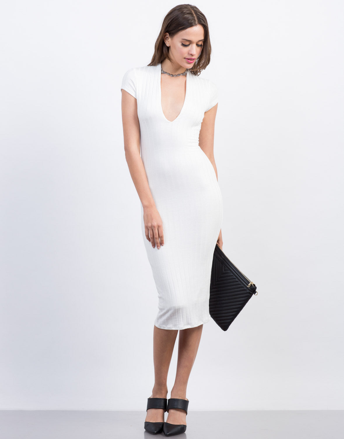 Front View of Plunging Ribbed Midi Dress
