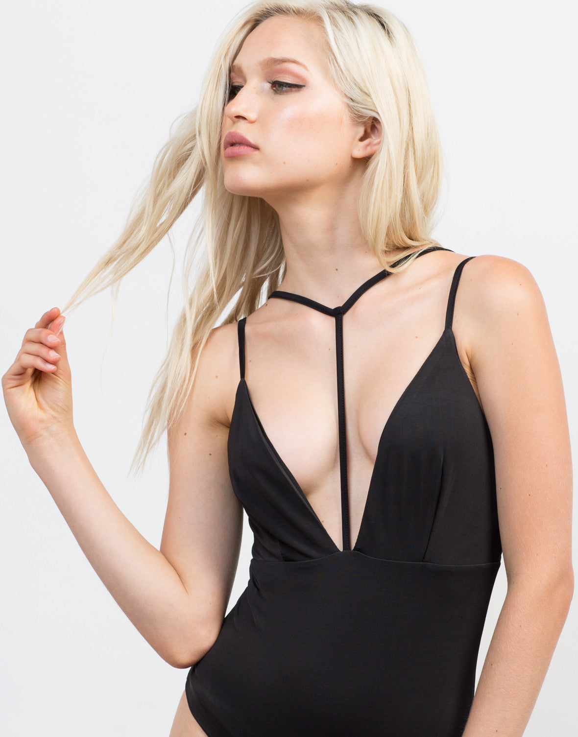 Detail of Plunging Strap Bodysuit