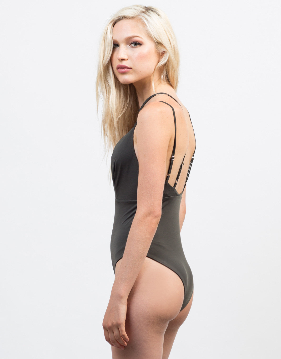 Back View of Plunging Strap Bodysuit