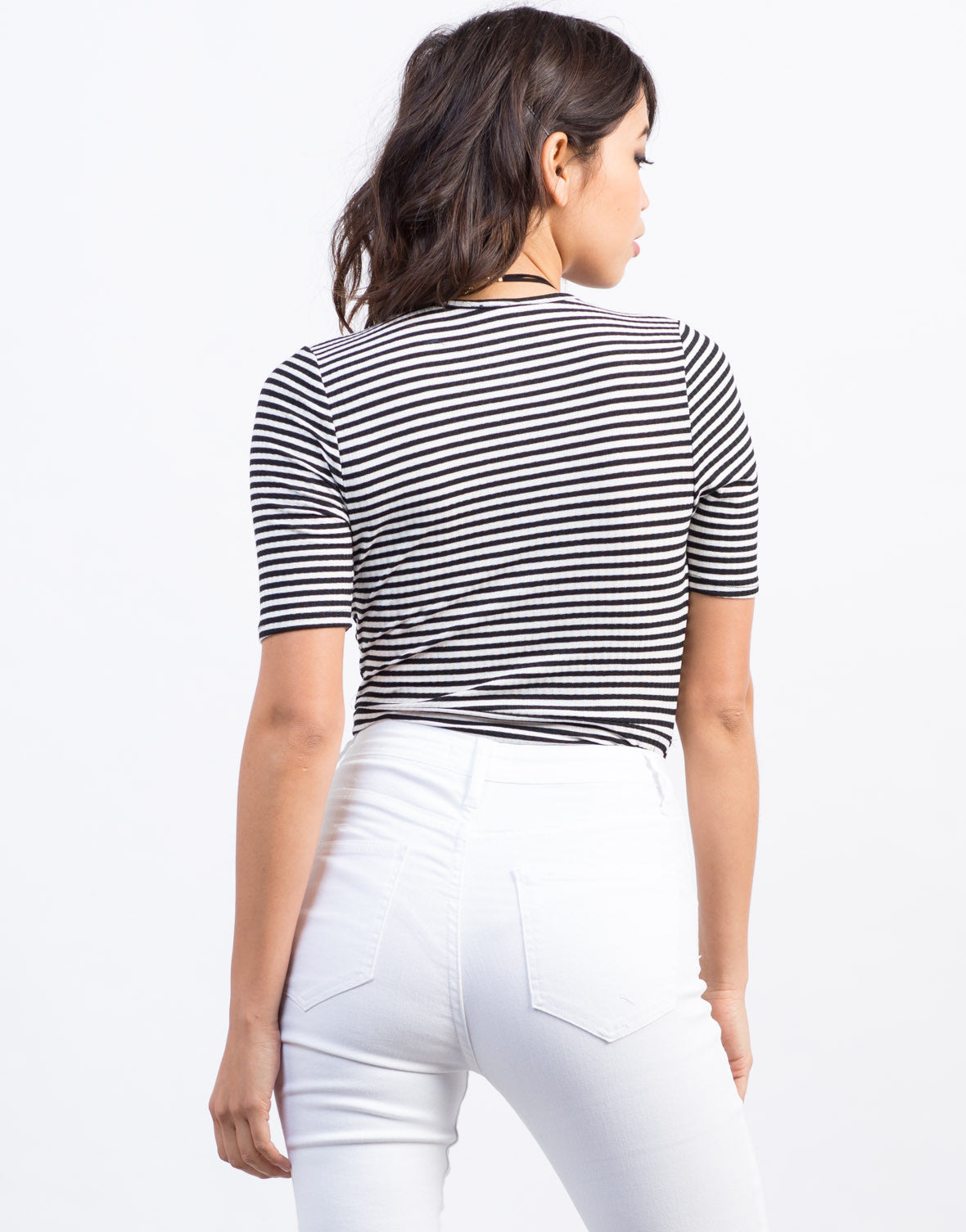 Plunging Striped Bodysuit - 2020AVE