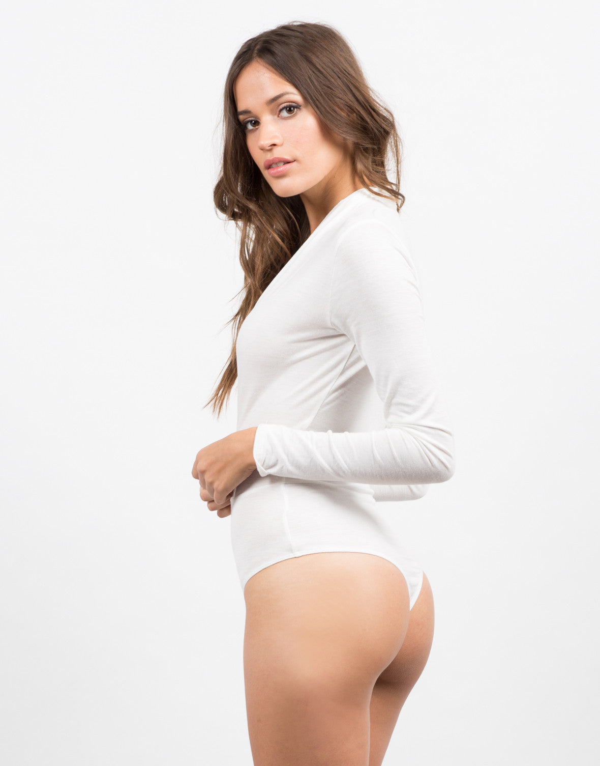 Side View of Plunging Basic Bodysuit