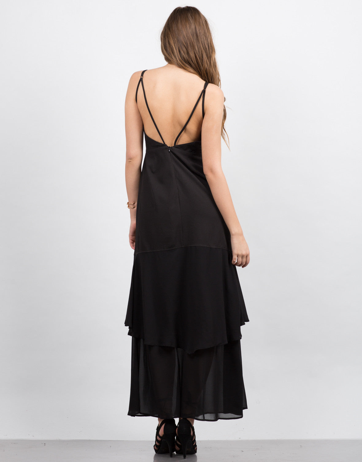 Back View of Plunging Contrast Maxi Dress