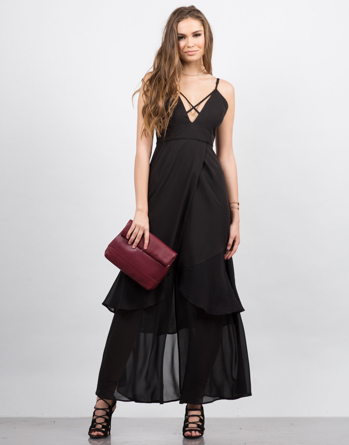 Front View of Plunging Contrast Maxi Dress