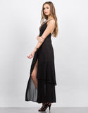 Side View of Plunging Contrast Maxi Dress
