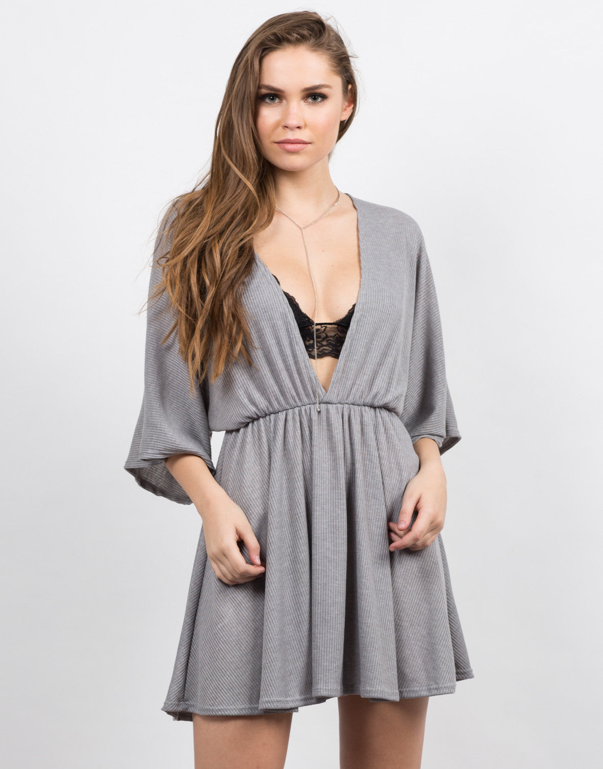 Front View of Plunging Dolman Sleeve Dress