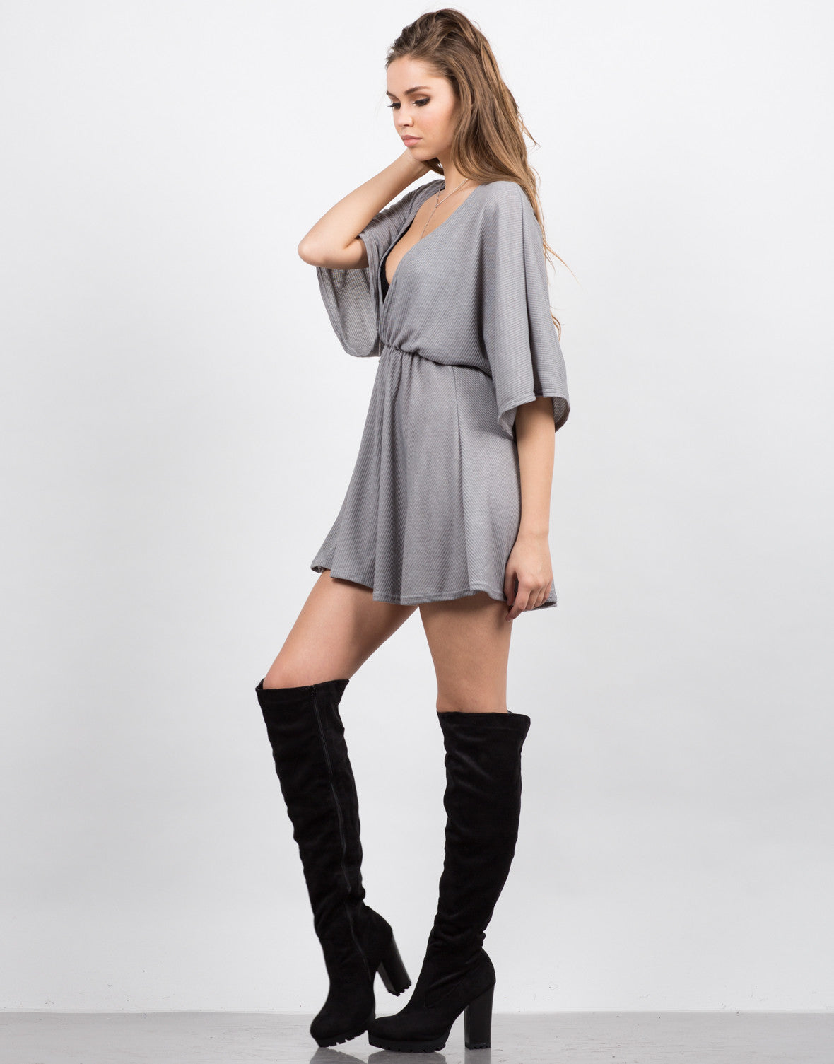 Side View of Plunging Dolman Sleeve Dress