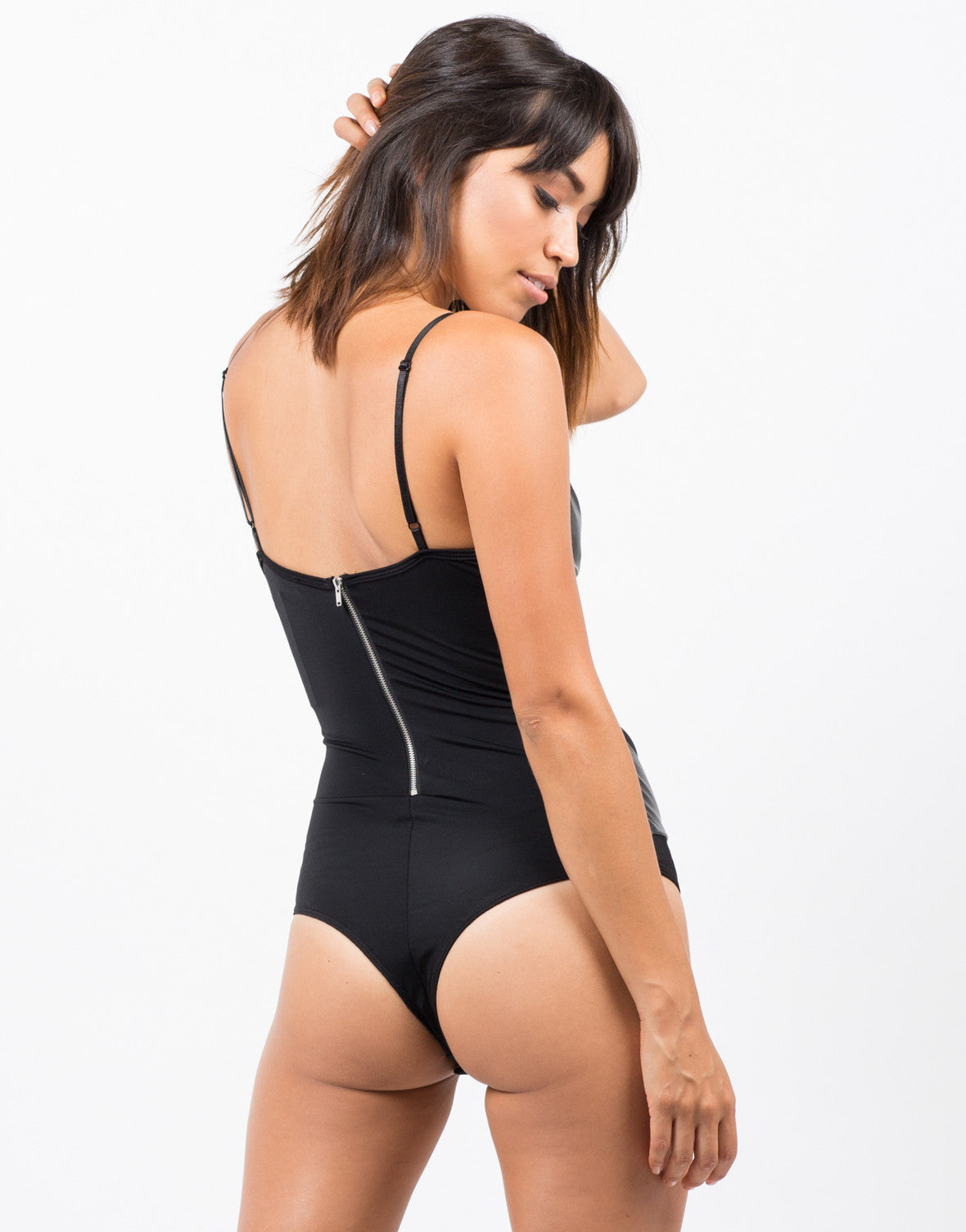 Front View of Plunging Faux Leather Bodysuit