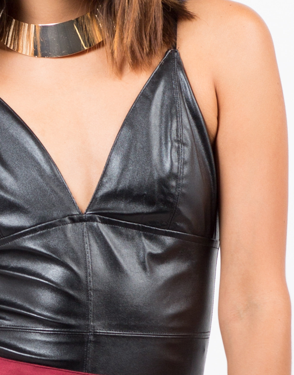 Detail of Plunging Faux Leather Bodysuit