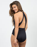 Back  View of Plunging Halter Swimsuit - Black