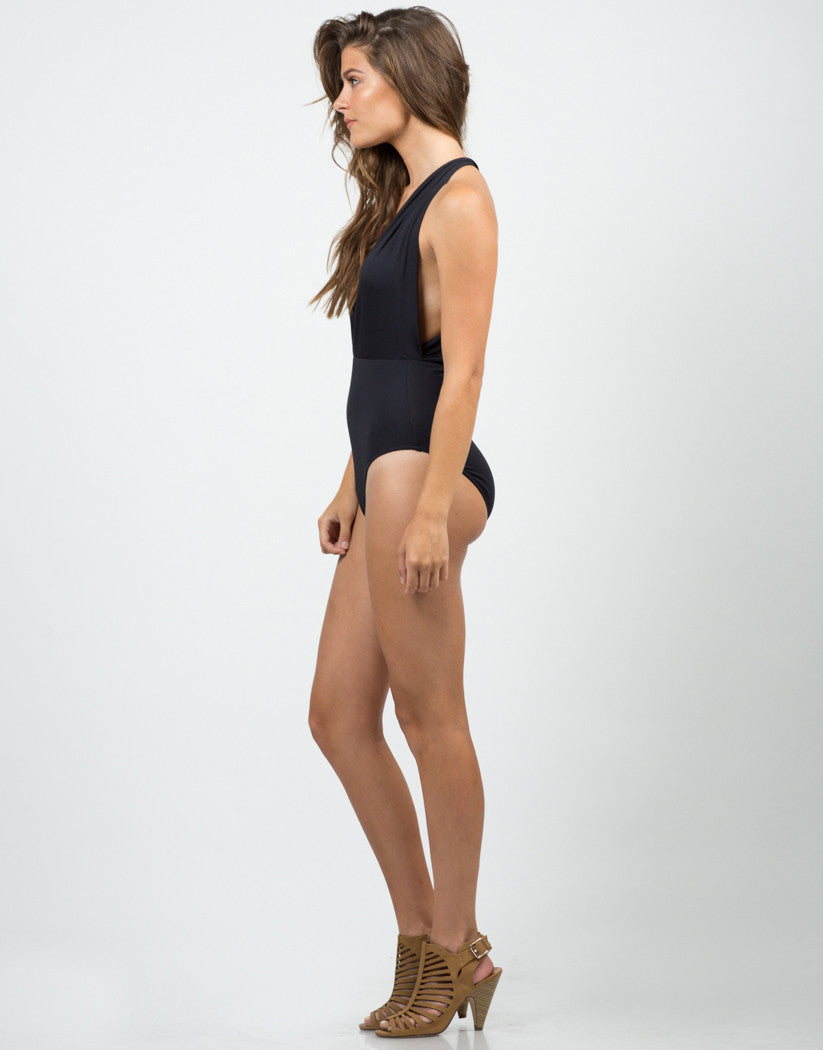 Side  View of Plunging Halter Swimsuit - Black