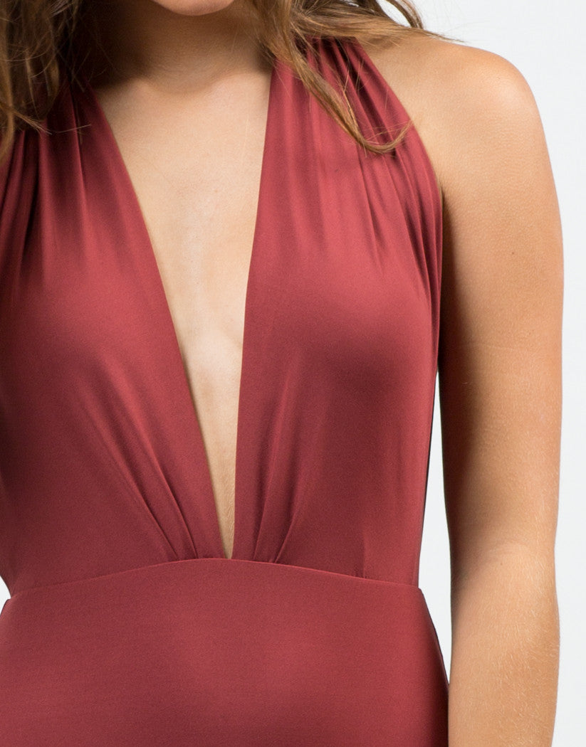 Detail of Plunging Halter Swimsuit - Burgundy