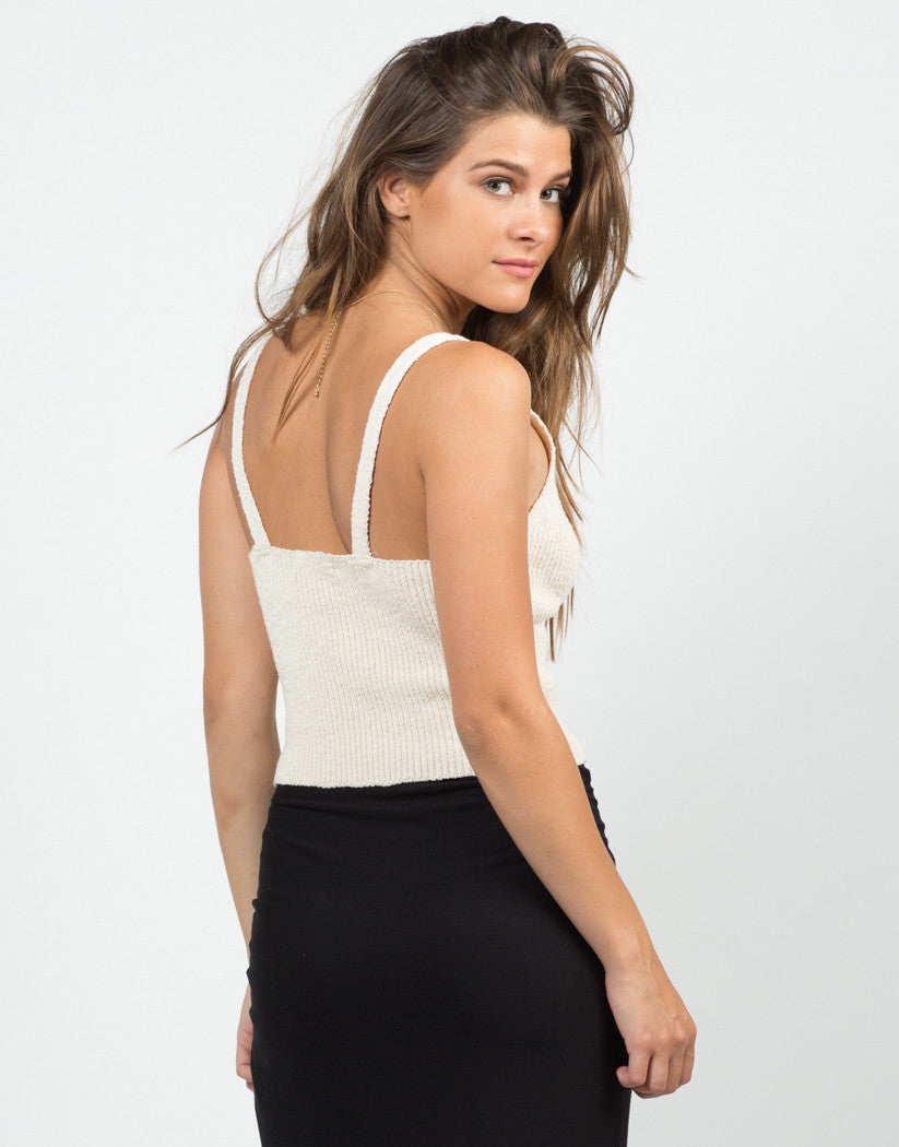 Back View of Plunging Knit Tank