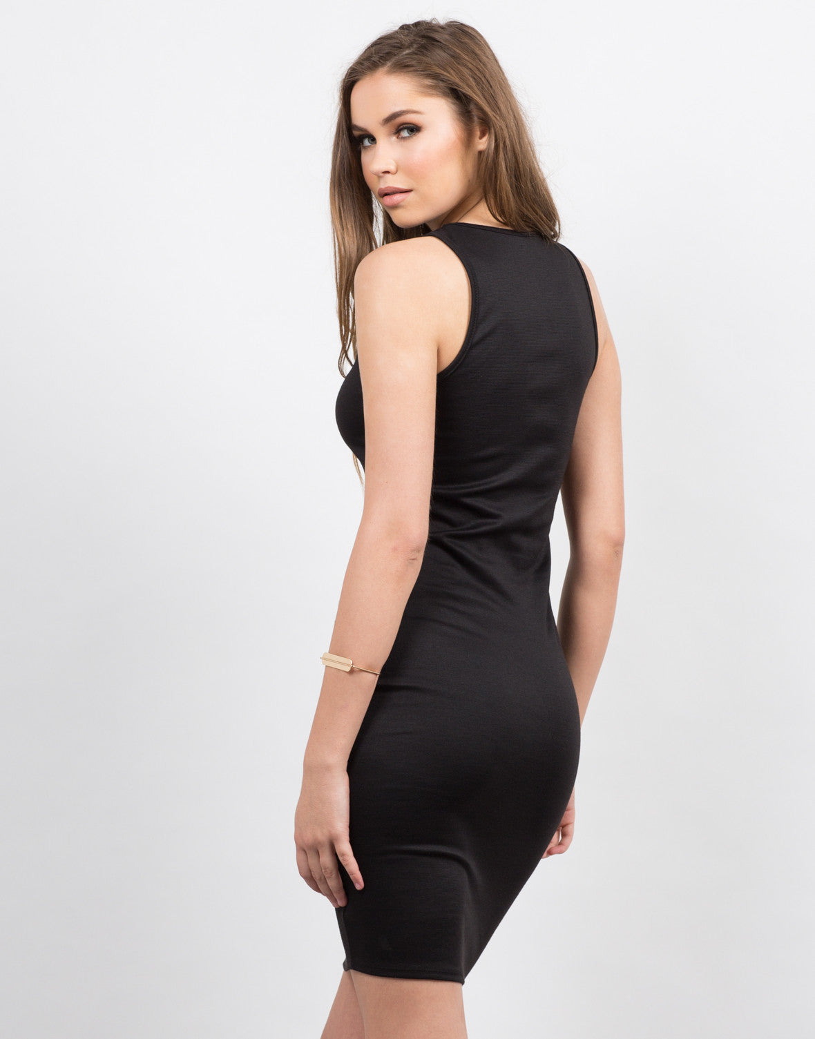 Back View of Plunging Lace-Up Midi Dress