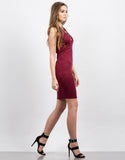 Side View of Plunging Lace-Up Midi Dress
