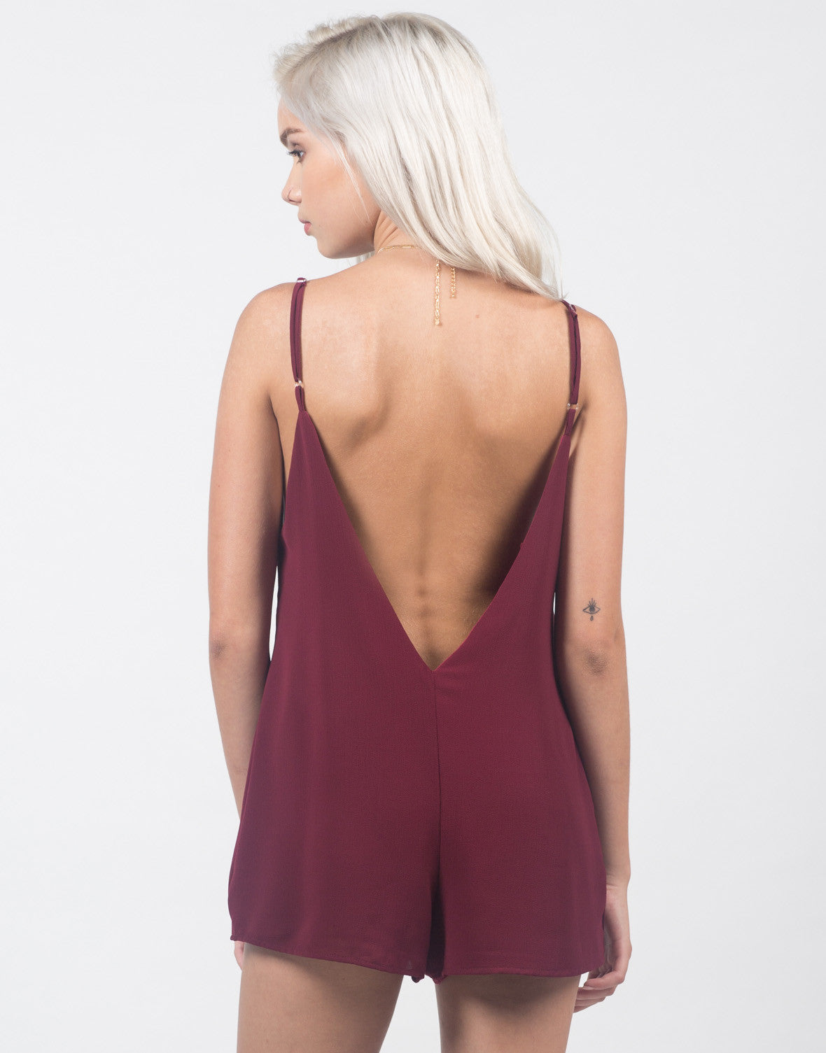 Back View of Plunging Little Romper