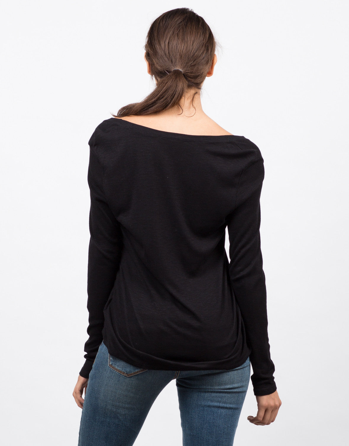 Back View of Plunging Long Sleeve Top