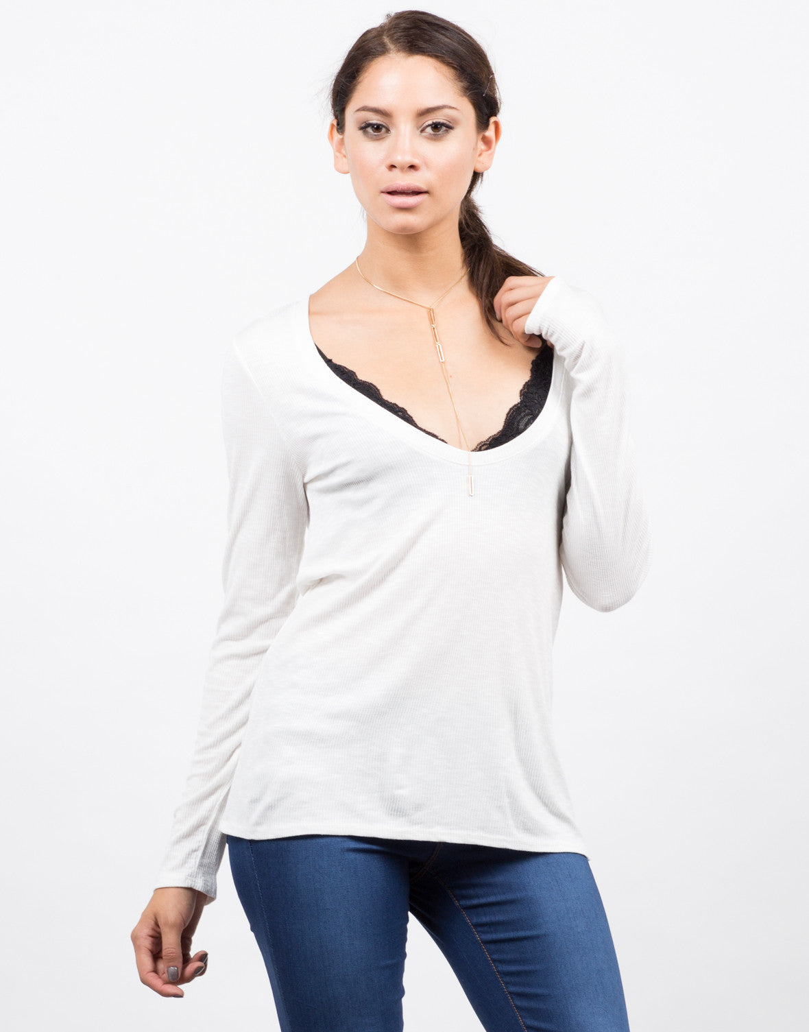 Front View of Plunging Long Sleeve Top