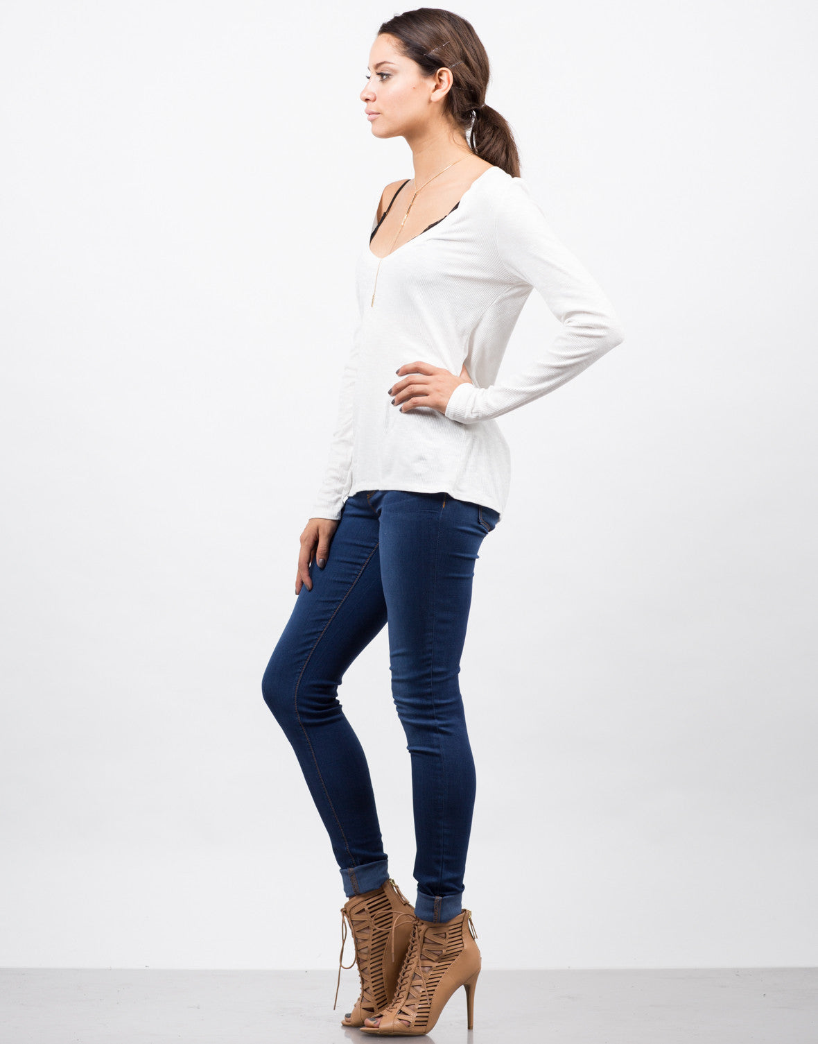 Side View of Plunging Long Sleeve Top