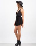 Side View of Plunging Pom Halter Romper