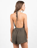 Back View of Plunging Pom Halter Romper