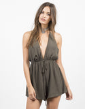 Front View of Plunging Pom Halter Romper