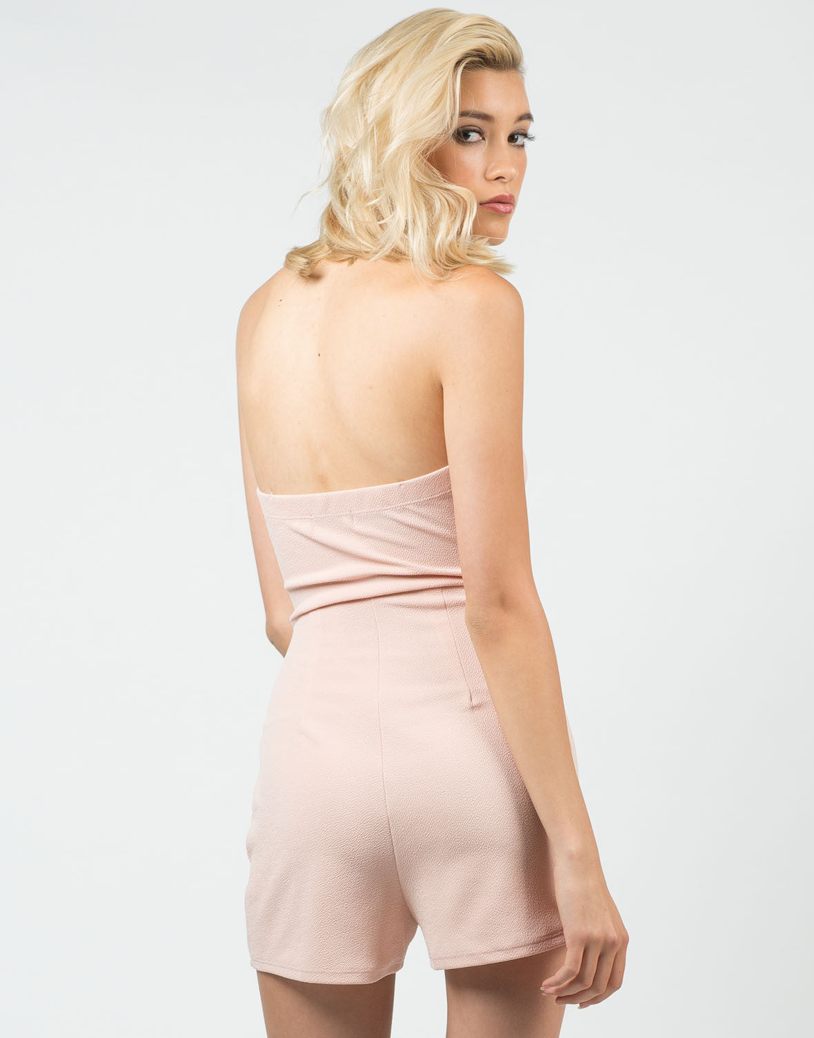 Back View of Plunging Sweetheart Romper