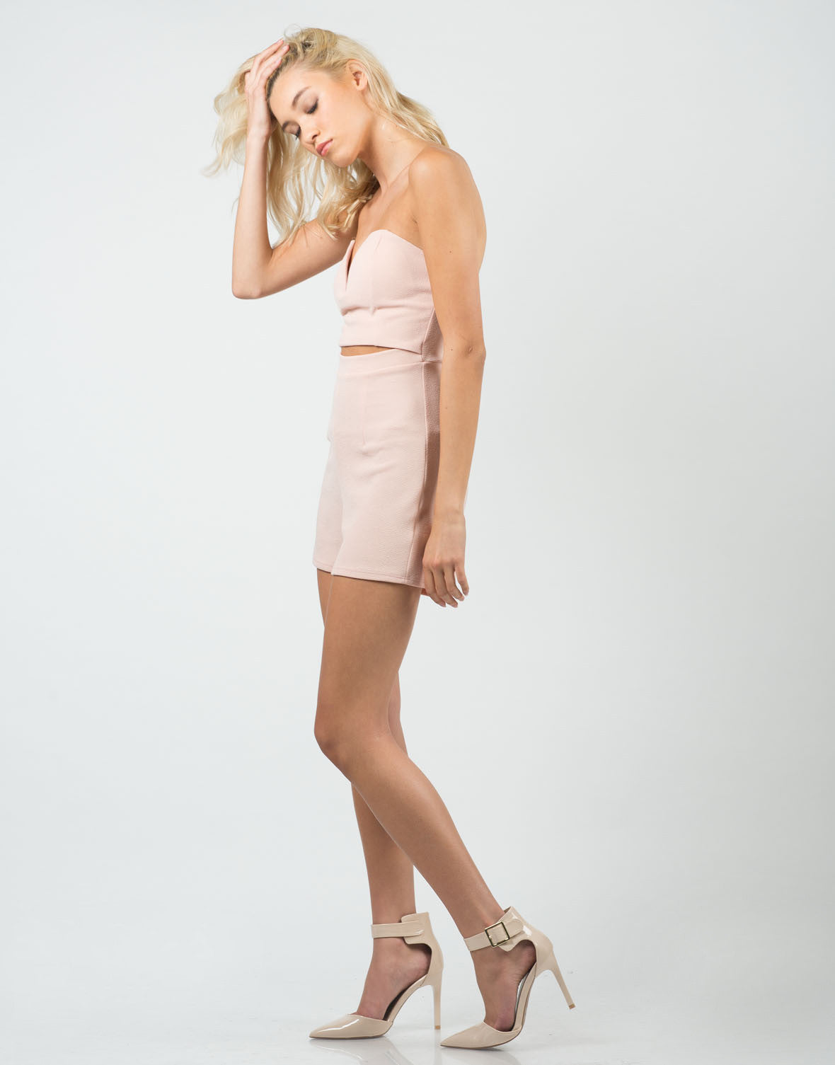Side View of Plunging Sweetheart Romper