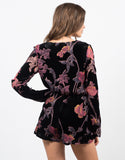 Back View of Plunging Velvet Floral Romper
