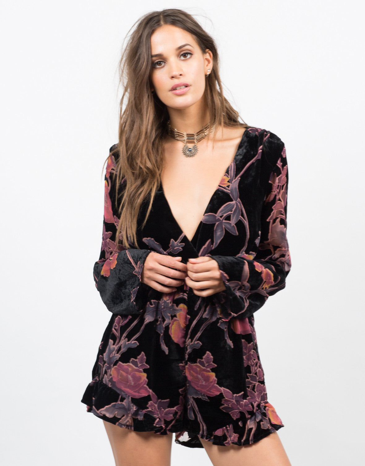 Front View of Plunging Velvet Floral Romper