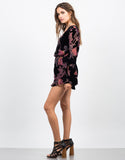 Side View of Plunging Velvet Floral Romper