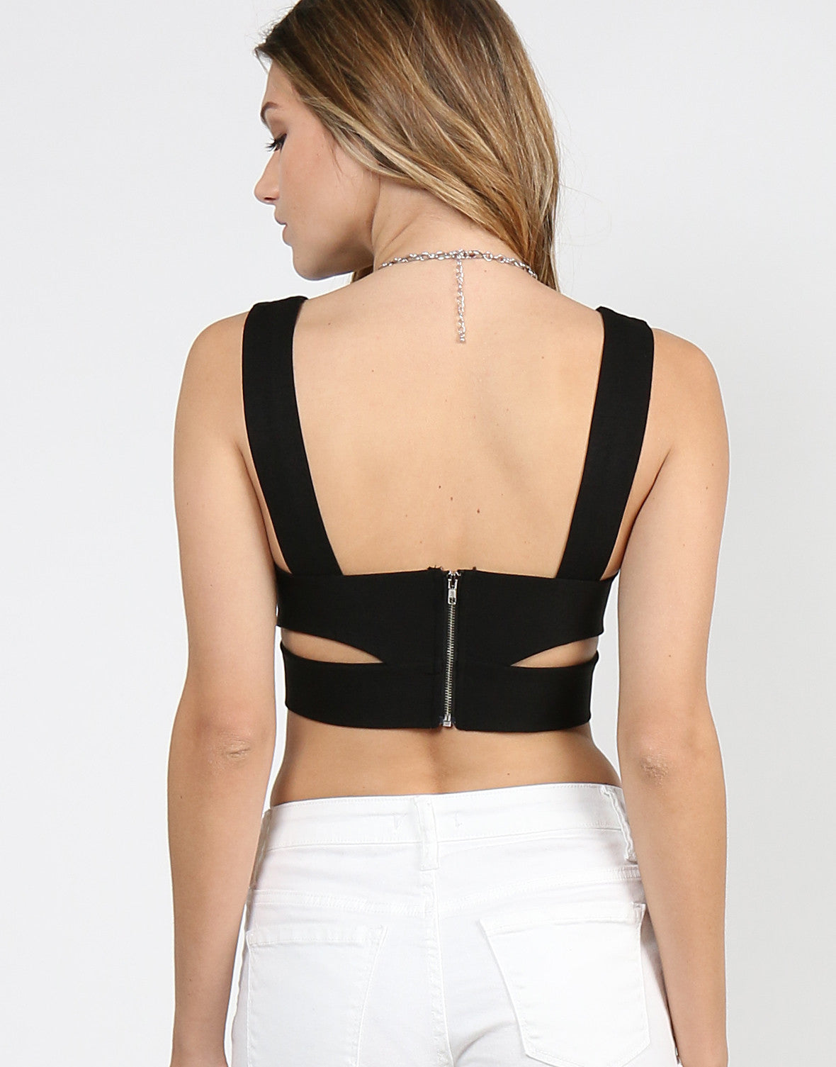 Plunging V-Neck Cutout Cropped Tank - 2020AVE