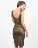 Back View of Plunging V-Neck Metallic Crop Top