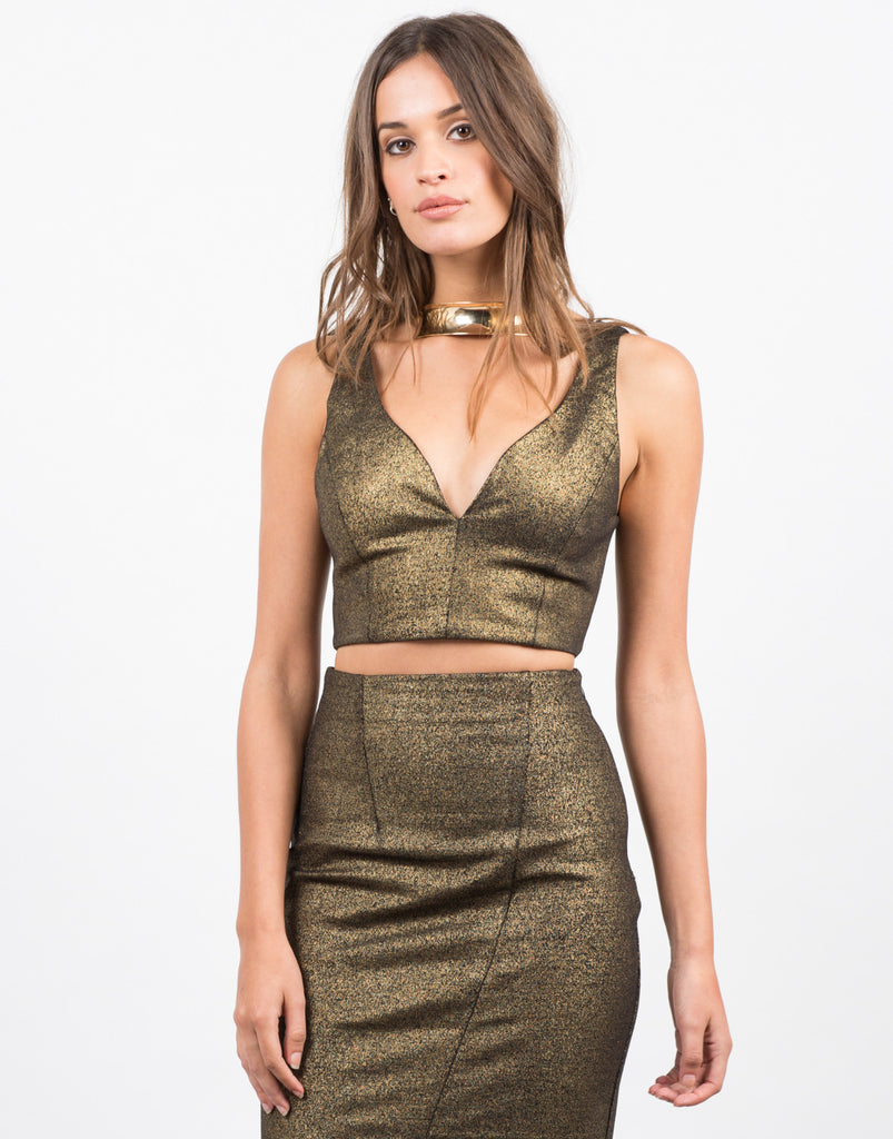Plunging V-Neck Metallic Crop Top - 2020AVE