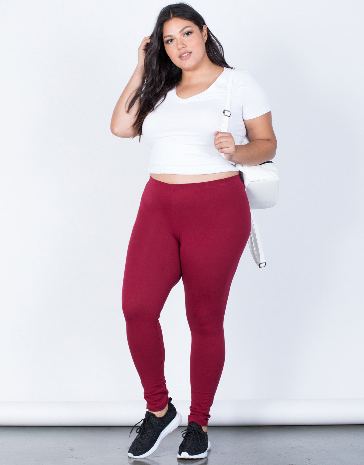 dd6f5bbc5913f ... Burgundy Plus Size Active Days Leggings - Front View ...