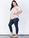 Beige Plus Size Alyssa Floral Top - Side VIew