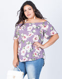 Dusty Lavender Plus Size Alyssa Floral Top - Front View