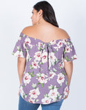 Dusty Lavender Plus Size Alyssa Floral Top - Back View
