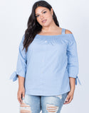 Dusty Blue Plus Size Amanda Buttoned Blouse - Front View
