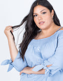 Dusty Blue Plus Size Amanda Buttoned Blouse - Detail View