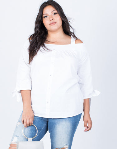White Plus Size Amanda Buttoned Blouse - Front View